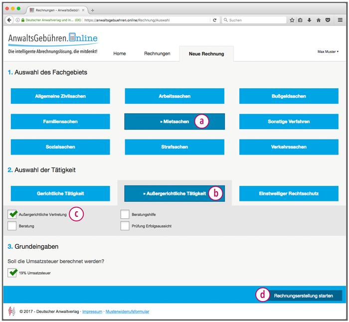 AnwaltsGebühren.Online: Startseite der Rechnungserstellung (Screenshot)