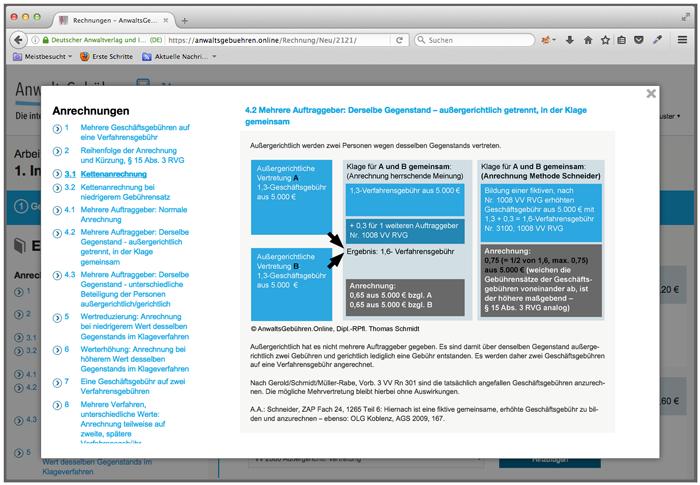 Anwaltsgebühren.Online: Schaubild (Screenshot)