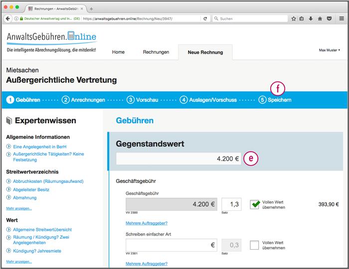 AnwaltsGebühren.Online: Gegenstandswert angeben (Screenshot)