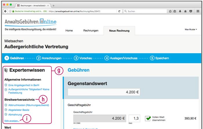 """AnwaltsGebühren.Online: Sonderfunktion """"Expertenwissen"""" (Screenshot)"""