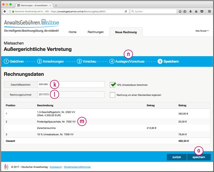 AnwaltsGebühren.Online: Rechnungsdaten (Screenshot)